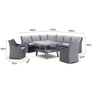 Randwick Package D Flat Brushed Grey - 6 piece Lounge and Dining setting