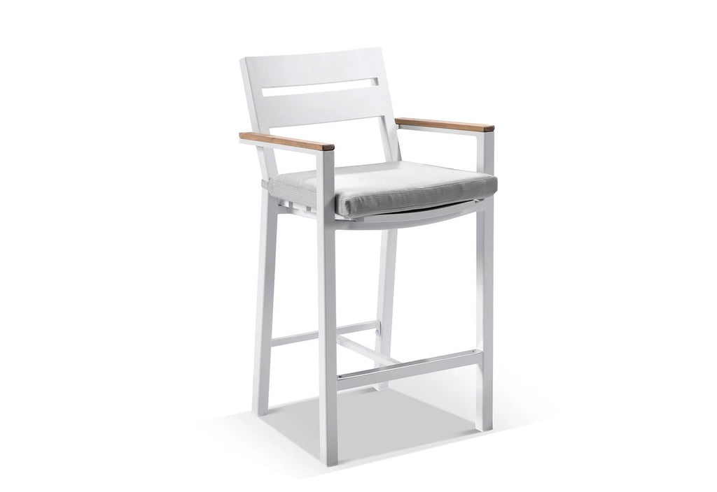 Capri Outdoor Aluminium and Teak Timber Bar Stool