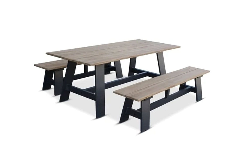 Brooklyn 2.6m Outdoor Teak Dining Table with Bench Seats