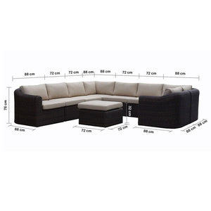 Subiaco Grand - Modular 9pc Outdoor Patio Lounge