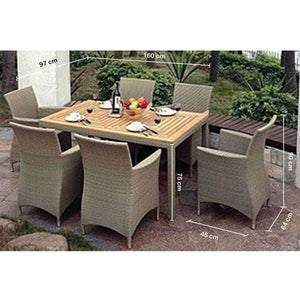 Sahara 6 - 7pc Raw Natural Teak Timber Table Top Outdoor Dining Set With Wicker Chairs