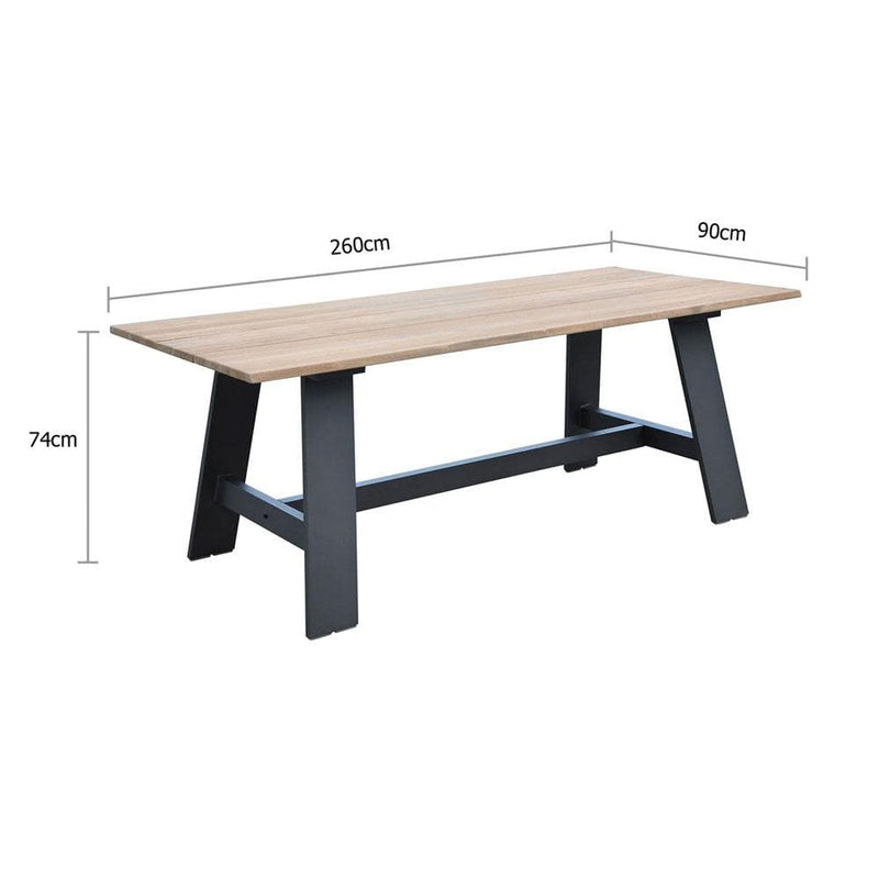 Brooklyn 2.6m Outdoor Teak Dining Table