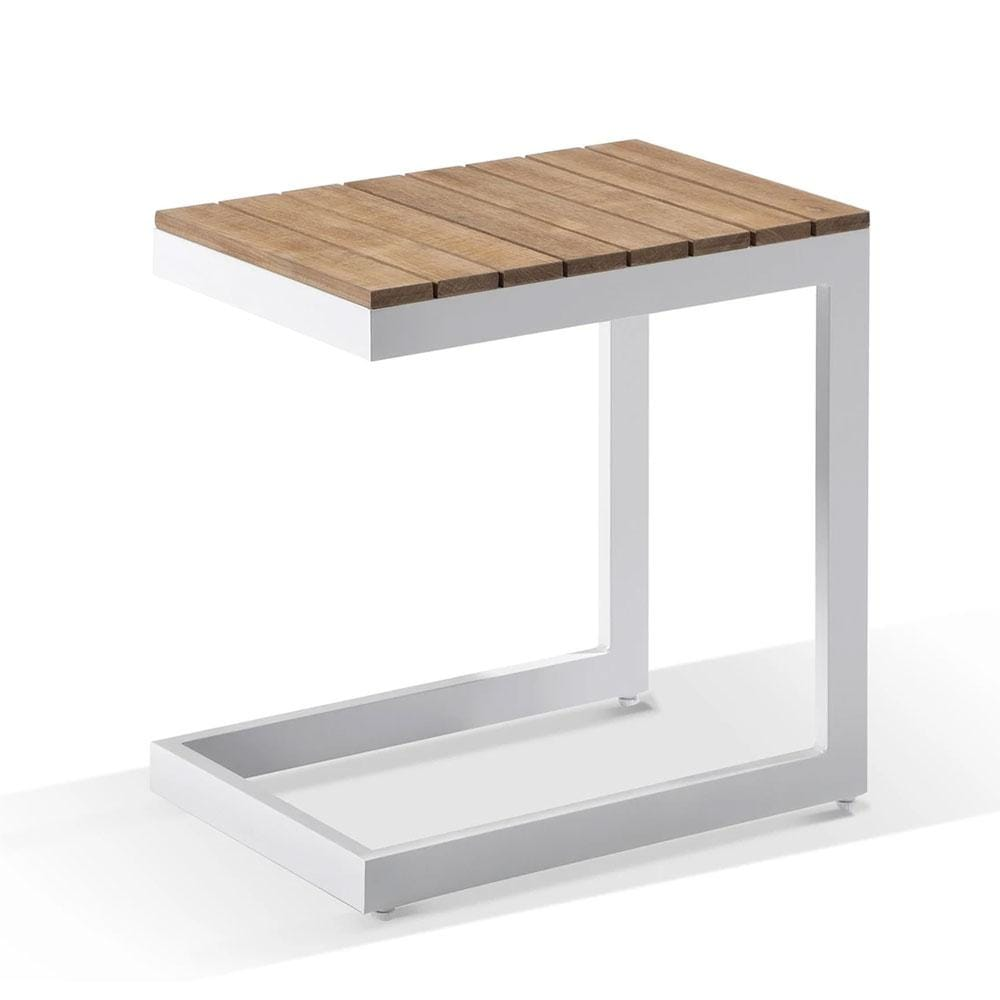 Outdoor Aluminium and Teak Top Side Table