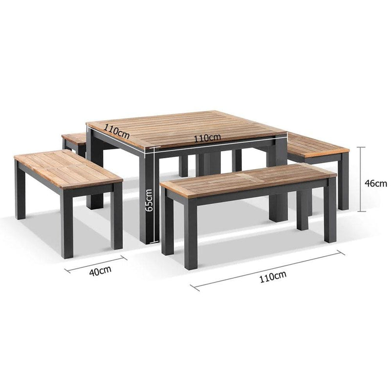 Balmoral Low Dining Coffee Table with 4 Bench Seats