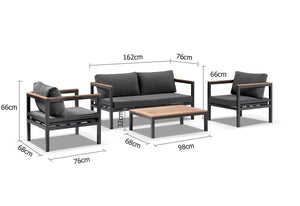 Harvey Outdoor Aluminium 2+1+1 Lounge Set with Coffee Table