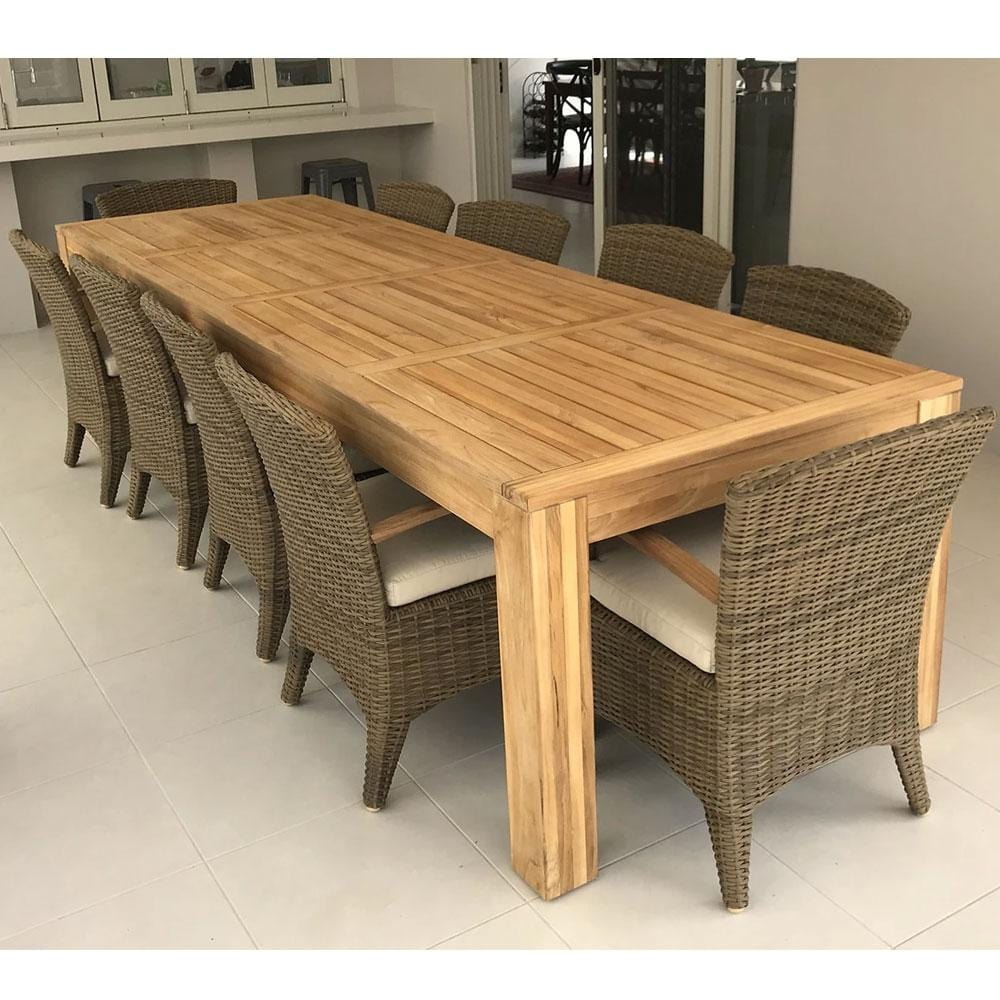Entertainer 3.3m 10 Seat Teak Outdoor Table with 10 Kai Wicker Dining Chairs