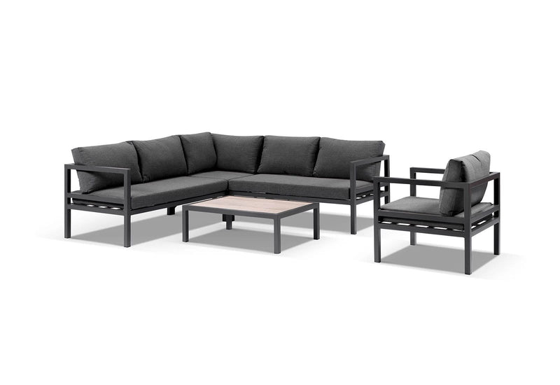Cuba Outdoor Aluminium Corner Lounge with Arm Chair & Coffee Table