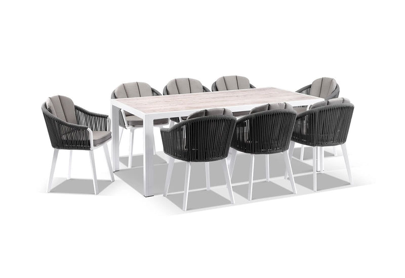 Alpine Outdoor 8 Seater Rope and Aluminium Dining Table and Chairs Setting