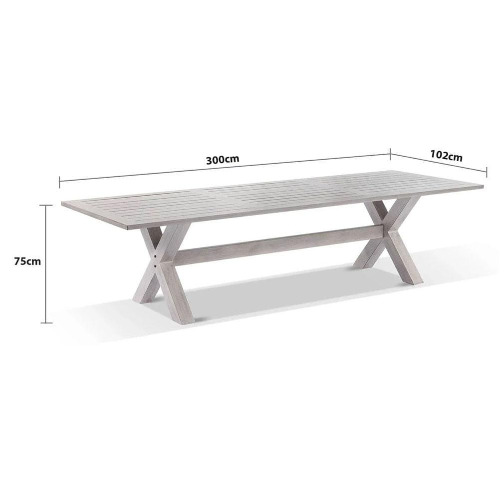 Aged Teak look Tahitian 3m Aluminium Dining Table