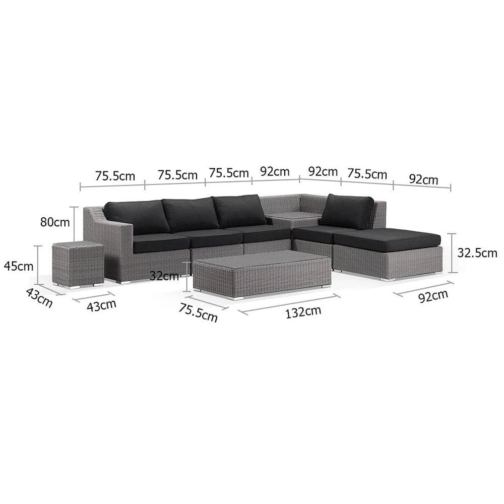 Milano Outdoor Chaise Lounge with built in Corner Table - Package K