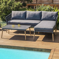 Silas Outdoor Charcoal Rope Chaise Lounge with Arm Chair and Coffee Table