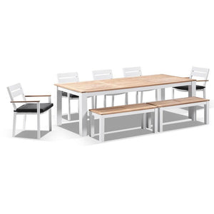 Balmoral 2.5m Teak Top Aluminium Table with 2 Bench Seats and 5 Chairs