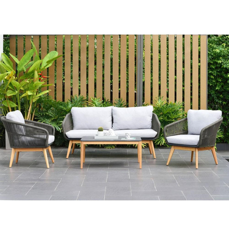Maldives 2+1+1 Outdoor Aluminium and Rope Lounge Setting with Coffee Table