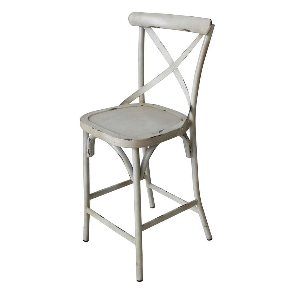 Outdoor French Provincial Cross Back Bar Stool - Shabby Chic Finish - Vintage Creme
