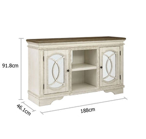 Realyn Timber TV Entertainment Unit Sideboard in Distressed White