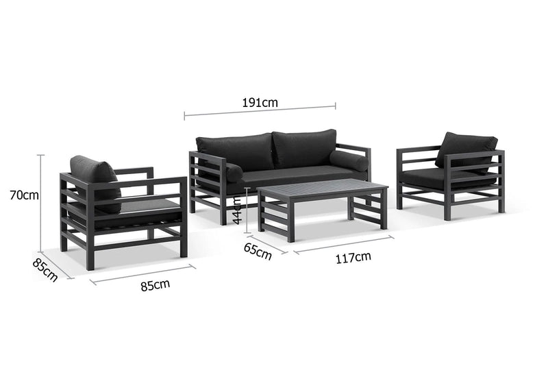 Miami 3+1+1 Outdoor Aluminium Lounge Set with Coffee Table