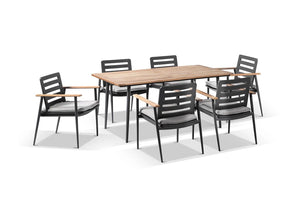 Nevada 6 Seater Aluminium and Teak Timber Dining Setting