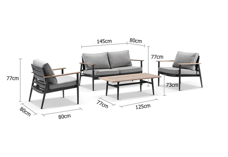 Nevada 2+1+1 Outdoor Aluminium and Teak Lounge Set with Coffee Table