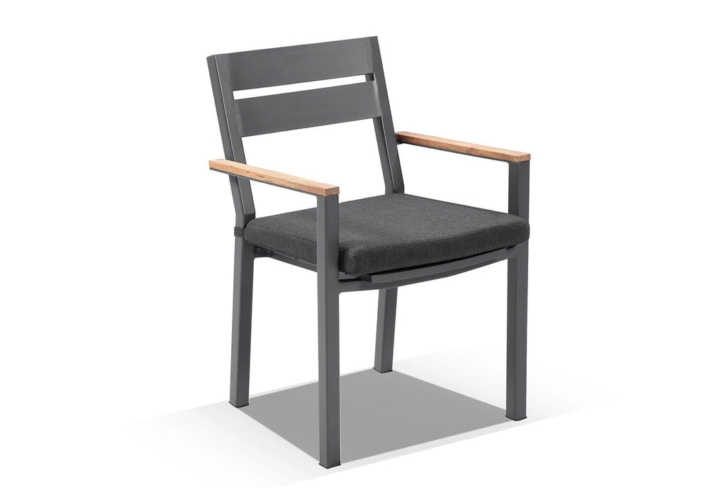 Capri Outdoor Aluminium Dining Chair with Teak Timber Arm Rests