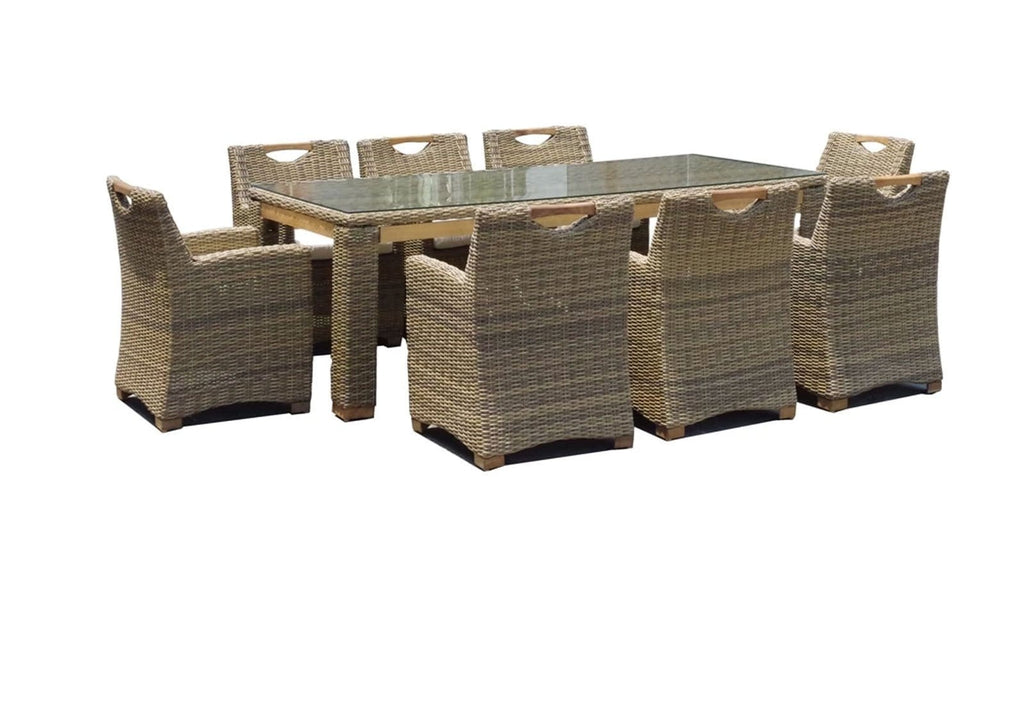Freedom 8 Rectangle in Half Round Wicker - 9pc Wicker Dining Set with Teak Timber  Trimming