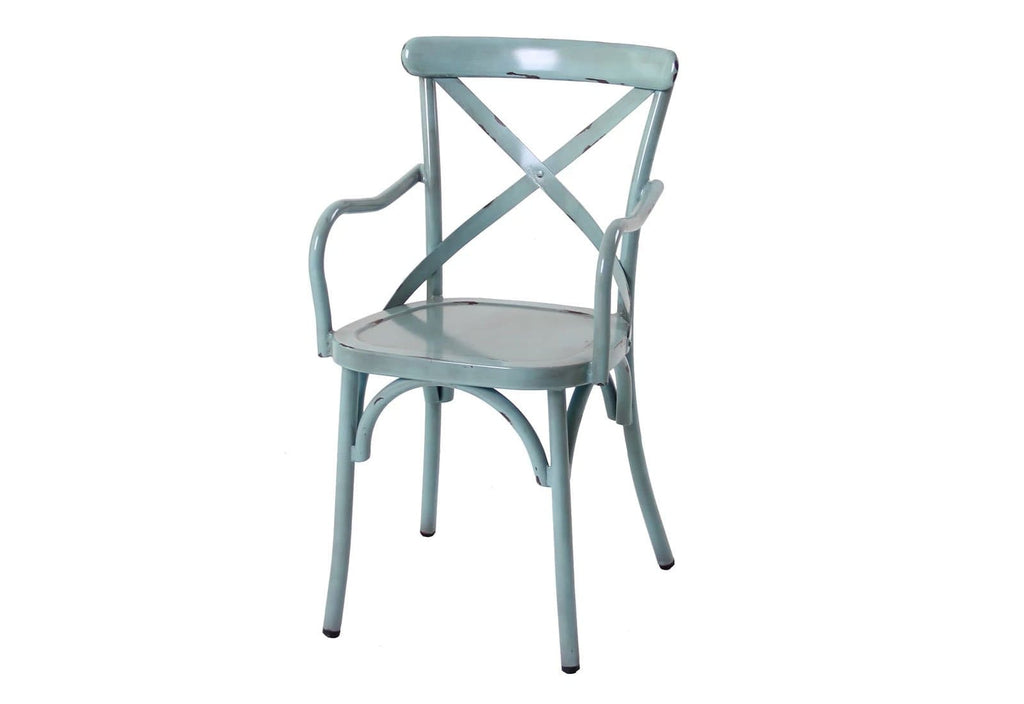 FRENCH PROVINCIAL CROSS BACK DINING CHAIR WITH ARMS - SHABBY CHIC FINISH - VINTAGE BLUE