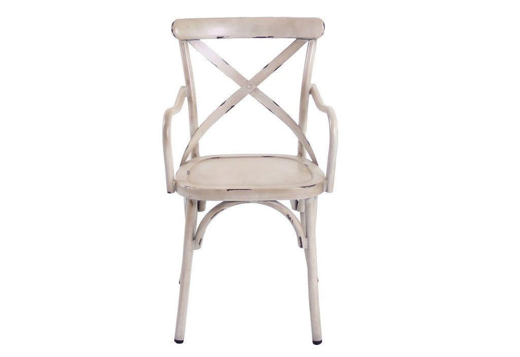 FRENCH PROVINCIAL CROSS BACK DINING CHAIR WITH ARMS - SHABBY CHIC FINISH - VINTAGE CREME