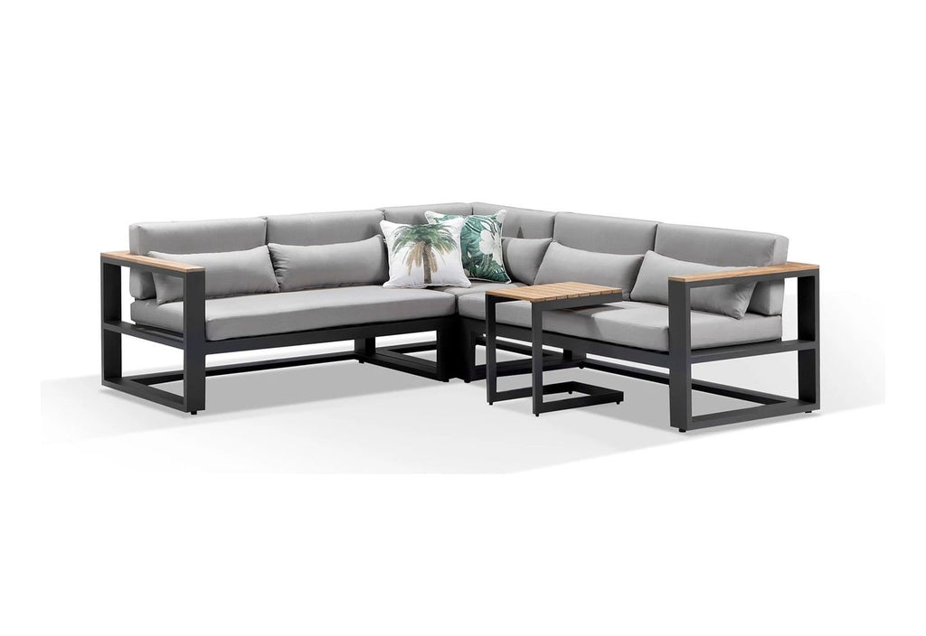 Balmoral Outdoor Aluminium & Teak Lounge with Side Table