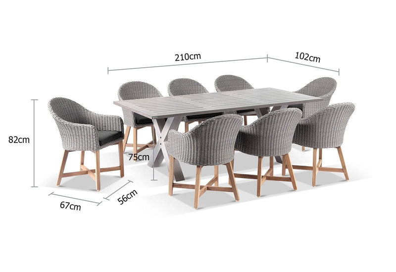 Aged Teak look Tahitian 2.1m Aluminium Dining Table with Coastal Chairs