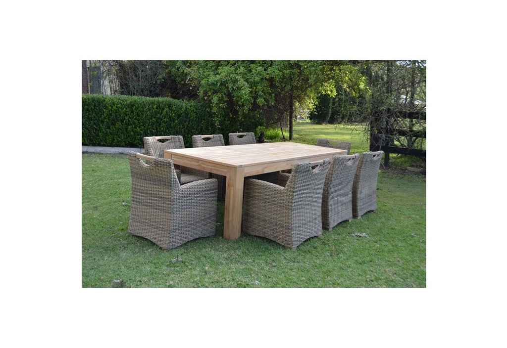 ENTERTAINER 2.5m TEAK OUTDOOR DINING TABLE AND 8 FREEDOM CHAIRS
