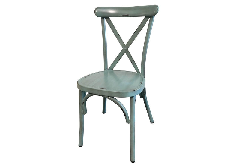 Outdoor Stackable Vintage Cross Back Chair in Antique Blue