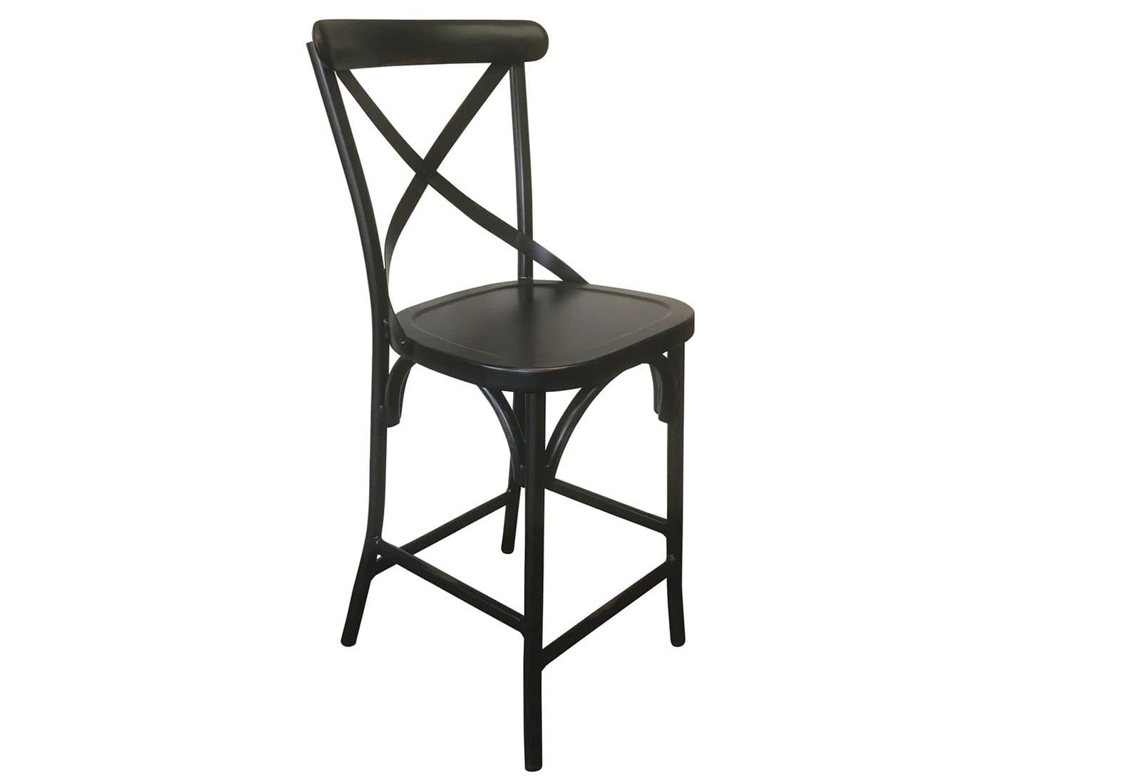 Admirable Outdoor French Provincial Cross Back Bar Stool Shabby Chic Finish Vintage Black Machost Co Dining Chair Design Ideas Machostcouk