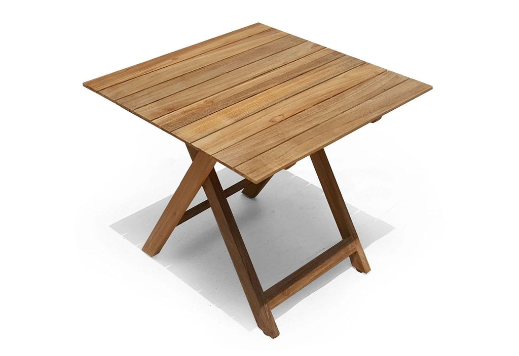 Lanai Square Outdoor Teak Timber Compact Folding Table