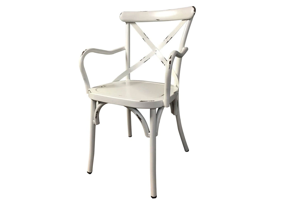 FRENCH PROVINCIAL CROSS BACK DINING CHAIR WITH ARMS - SHABBY CHIC FINISH - VINTAGE WHITE