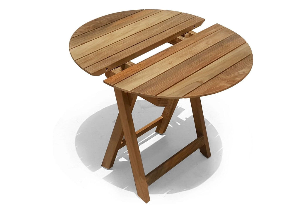 Lanai Round Outdoor Teak Timber Compact Folding Table