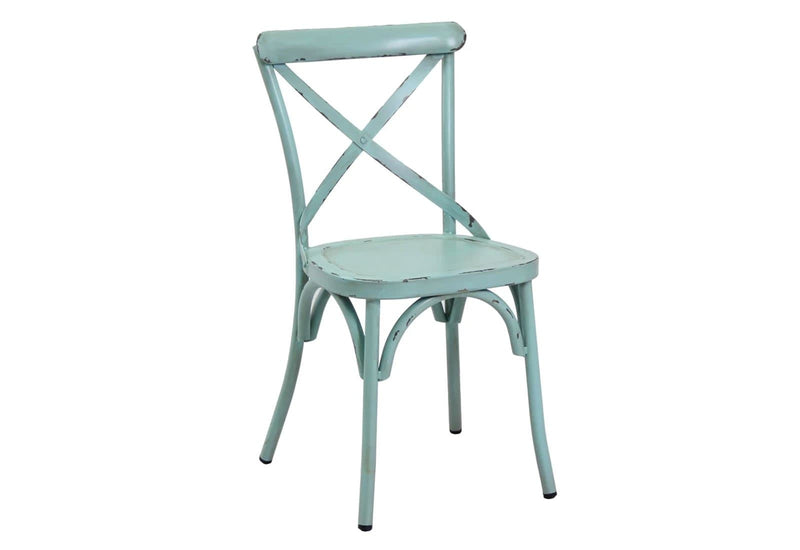 Outdoor Vintage Cross Back Chair in Antique Blue