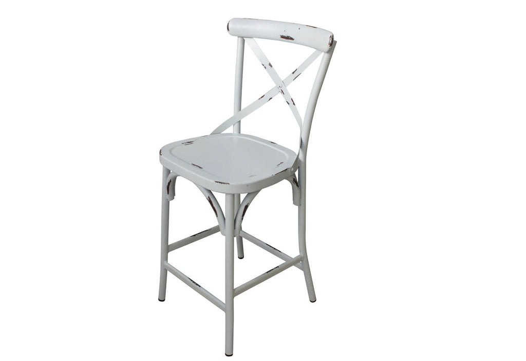 Outdoor French Provincial Cross Back Bar Stool - Shabby Chic Finish - Vintage White