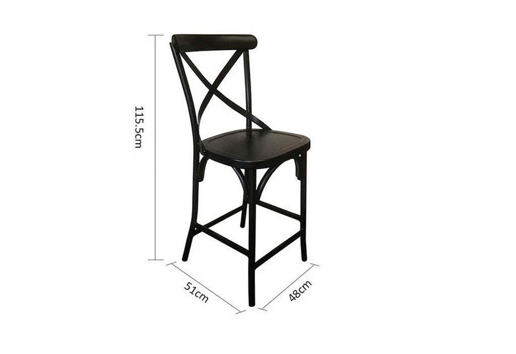 Outdoor French Provincial Cross Back Bar Stool - Shabby Chic Finish - Vintage Black