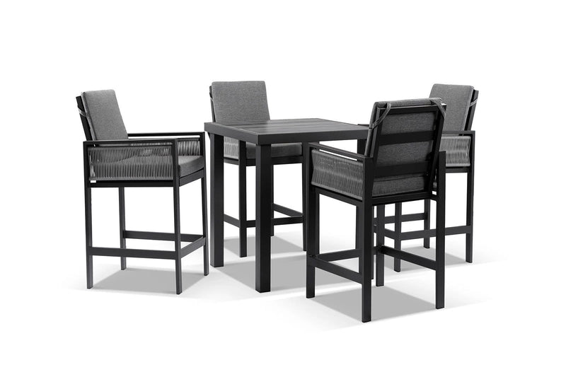 Seattle Outdoor Aluminium and Rope 4 Seater Bar Table and Stools Setting