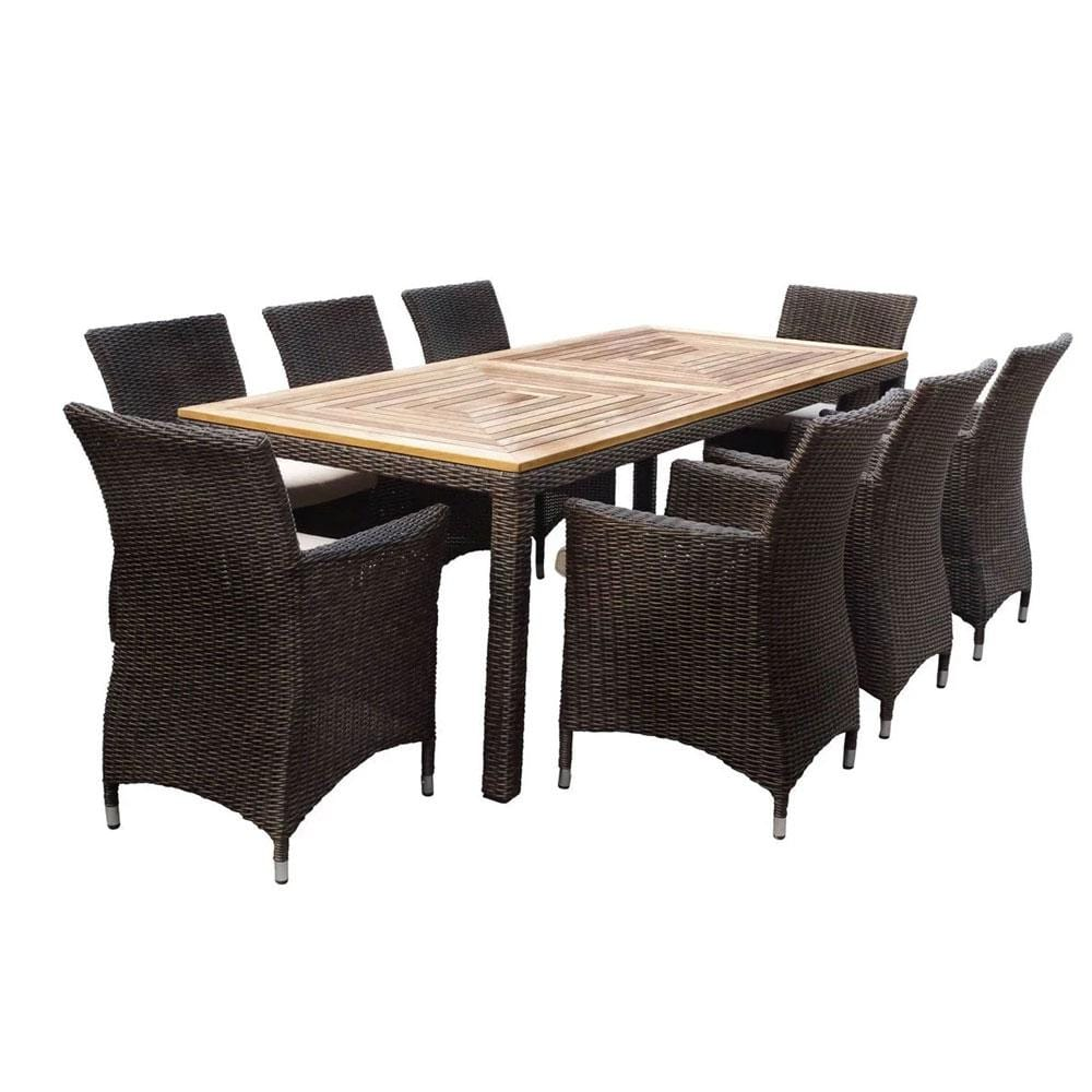 Sahara 8 Rectangle in Half Round wicker - 9pc Raw Natural Teak Timber Table Top Outdoor Dining Set With Rattan Wicker Chairs