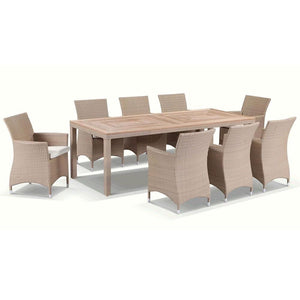 Sahara 8 Rectangle - 9pc Raw Natural Teak Timber Table Top Outdoor Dining Set With Wicker Chairs