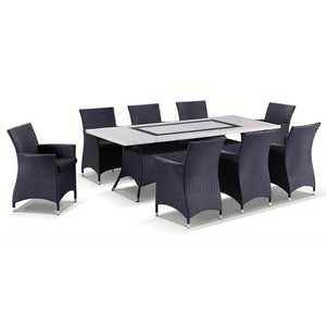 Caesar 8 Rectangle - 9pc Travertine Stone Outdoor Table Setting With Wicker Outdoor Chairs