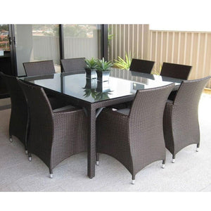 Roman 8 Square - 9pc Outdoor Dining Set