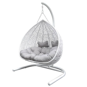Duke Double Hanging Egg Chair in White with Stand