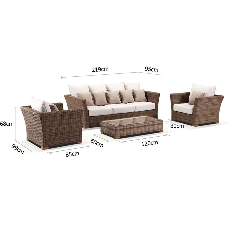 Coco 3+1+1 - Huge 3 Seater Day Bed With 2 Arm Chairs And Coffee Table in Outdoor Rattan Wicker