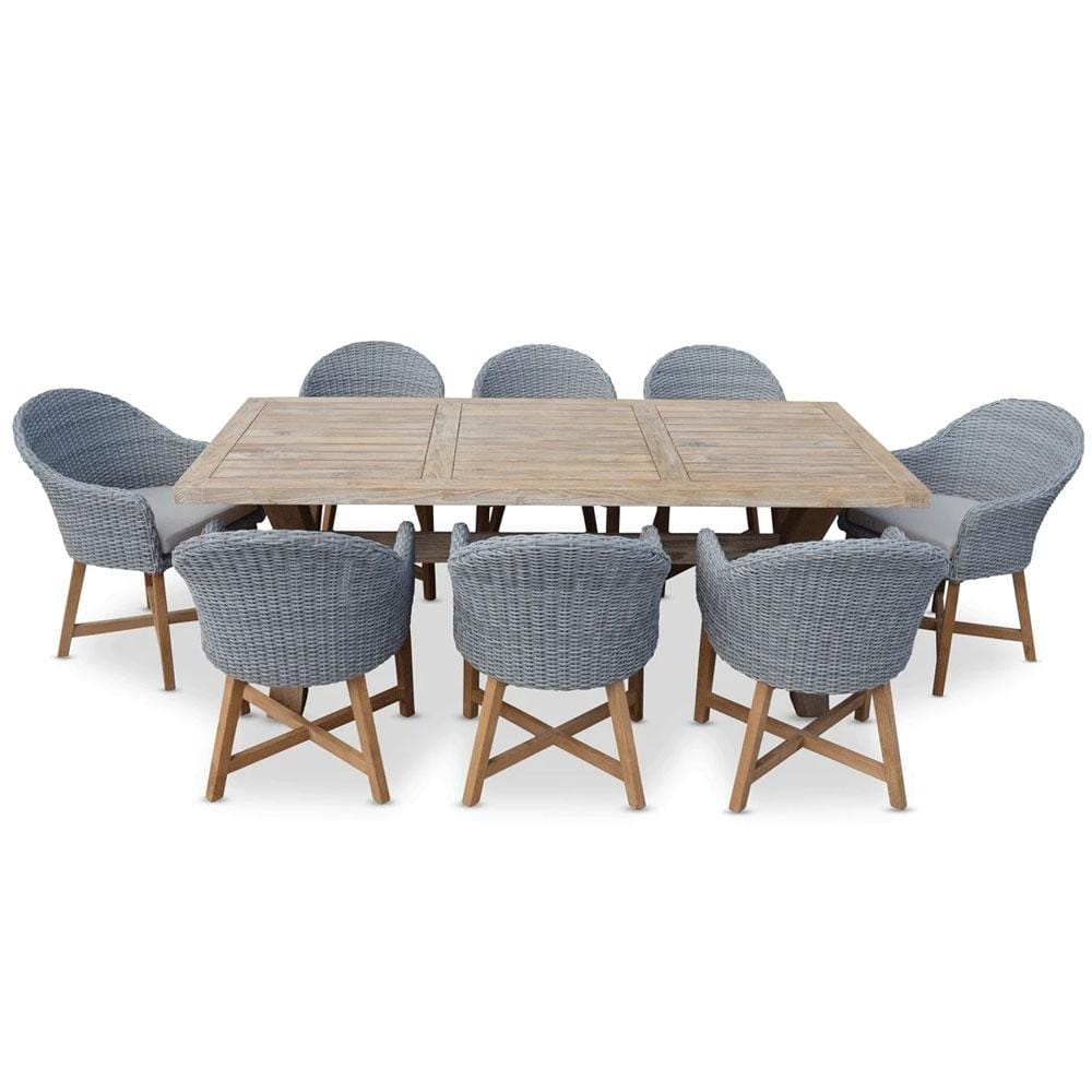 Tahitian Solid Teak 2.1m Outdoor Table - With Coastal Wicker Dining Chairs