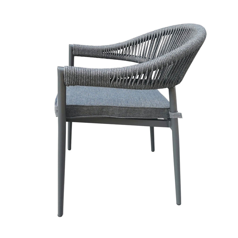 Finley Outdoor Aluminium and Rope Stackable Dining Chair