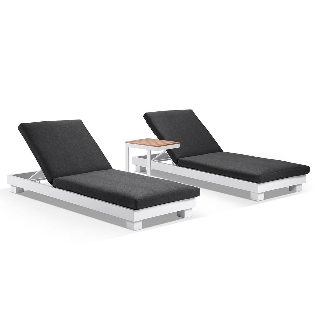 Santorini Aluminium Sun Lounge Set in White w/ Denim Grey w/ Side Table