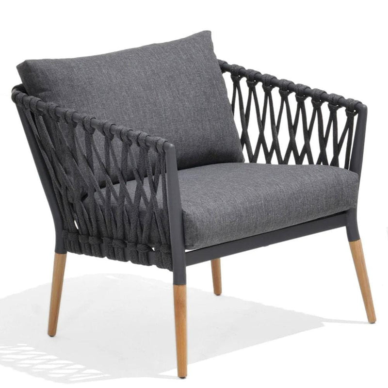 Silas Outdoor Charcoal Rope Arm Chair