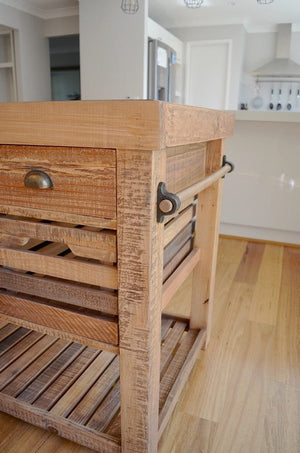Recycled Rustic Timber Kitchen Island Bench w/ 8 drawers