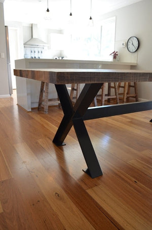 RUSTIC INDUSTRIAL 2.36M TIMBER DINING TABLE w/ STEEL X-FRAME BASE